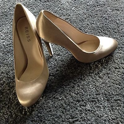 £25 • Buy REISS Champagne Satin Evening Shoes Size 39