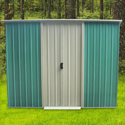 Metal Garden Shed Flat Roof Outdoor Tool Storage House Heavy Duty Patio Toolshed • 133.99£