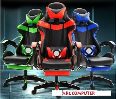 AU165 • Buy PU Leather Office Computer Gaming Chair Red Blue Ergonomic W/Footrest Recline