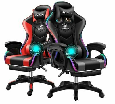 AU169.95 • Buy PU Leather Office Ergonomic Gaming Chair Red Blue Gold Pink White W/Footrest