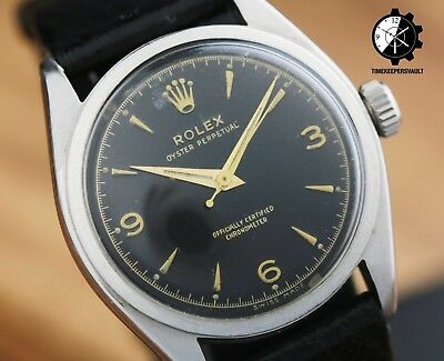 $ CDN5330.17 • Buy Vintage Rolex Oyster Perpetual 6084 Black Dial Smooth Bezel 34mm Watch