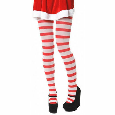 Christmas Red And White Candy Stripe Tights Elf Mrs Claus One Size Fancy Dress • 2.90£