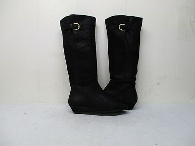 b4aed2d930a Steven By Steve Madden Intyce Black Leather Wedge Knee High Boots Women Sz  5.5 M •