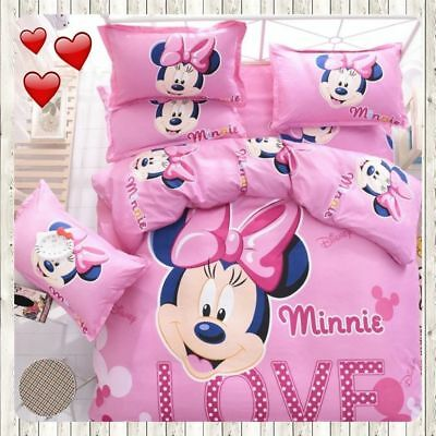 $31.34 • Buy Minnie Mouse Bedding Set Cartoon Kids Bedclothes Covers 3/4 Pcs Twin Full Queen