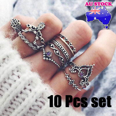 AU9.68 • Buy Wholesale Silver Plated Bohemian Flower 10 Pcs CZ Crystal Crown Rings Set Gift