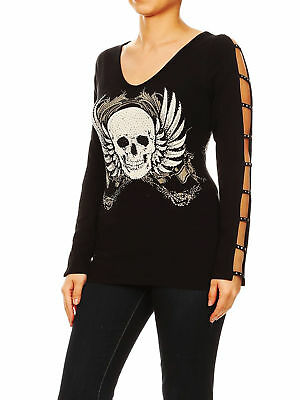2a6e5271a4a 95  Funfash Women Plus Size Black Long Sleeves V Neck Gothic Skull New Top  Shirt