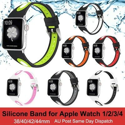 AU8.54 • Buy Sports Silicone Strap Band For Apple Watch IWatch Series 6/5/4/3/2 38/40/42/44mm