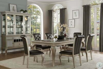 $2895.90 • Buy 7-9 Formal Silver Rectangular Extendable Dining Set Table Arm Chairs Free Setup