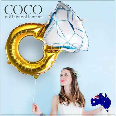AU3.99 • Buy Big Diamond Ring Foil Balloon Wedding Engagement Valentines Wall Decoration Gold