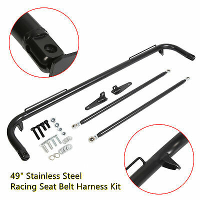 $81.55 • Buy Black Stainless Steel Racing Safety Seat Belt Chassis Roll Harness Bar Kit Rod