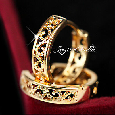 AU9.87 • Buy 9k Yellow Gold Gf Celtic Filigree Womens Mens Small Hoop Huggie Sleeper Earrings