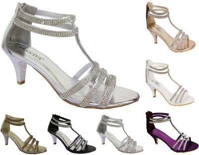 £22.95 • Buy Womens Diamante Mid Low Heel Strappy Ankle Strap Evening Prom Shoes Sizes 3-8