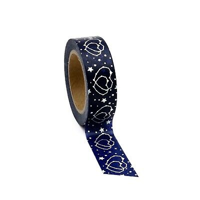 AU4.50 • Buy Navy Blue Washi Tape Silver Hearts Foil Gilded Metallic Cestial Stars 15mm X 10m
