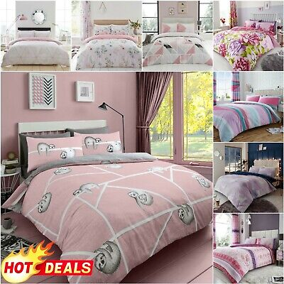 PINK AND GREY BEDDING Quilt Duvet Cover Set With Pillowcases Double King Size • 8.39£