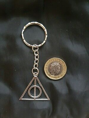 Harry Potter Deathly Hallows Large Key Ring Key Chain TIBETAN SILVER  • 4.39£