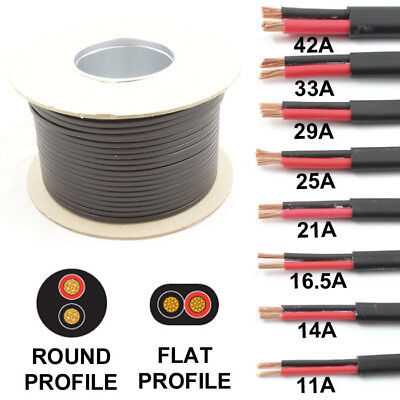 ROUND Or FLAT Profile Twin 2 Core Cable 12v 24v Thin Wall Wire 11A Up To 42 AMP • 25.95£