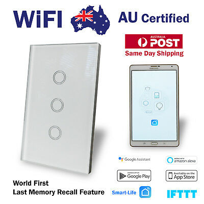 AU54.80 • Buy Smart WIFI Wall Light Switch Touch Home Automation 3 Gang Google, Alexa, Voice