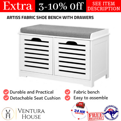 AU93.96 • Buy Shoe Storage Bench Seat White Rack Organiser AU The New Small Cabinet W/ 2 Doors