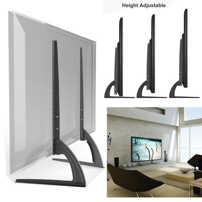 Universal LCD Flat Screen Mount TV Table Top Stand Base Black VESA Up To 400x600 • 14.91$