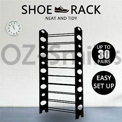 AU19.95 • Buy 10 Tiers Shoe Rack 30 Pairs Stackable Storage Holder Organiser For Shoes