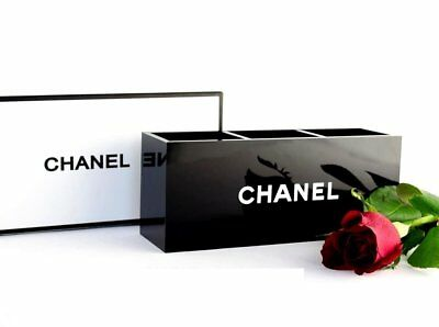 CHANEL Beauty GIFT Black Glossy Makeup Brush Holder Long Style  3 Slots With BOX • 28.60£