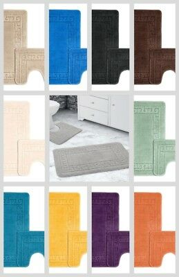 Bath Mat And Pedestal Set 2 Piece Anti Slip Greek Key Bathroom Rug 13 Colours • 8.95£