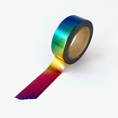 AU5.50 • Buy Washi Tape Foil Rainbow Holographic Metallic Gilded 15mm X 10m