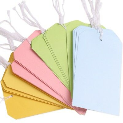 60x LARGE CARD LUGGAGE TAGS ON STRING Blank Tie On Labels Travel Suitcase Bag • 5.11£
