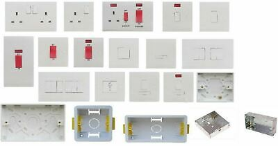 White Plug Socket Switch Spur Cooker DP Switch Back Box Pattress Dry Lining  • 2.95£