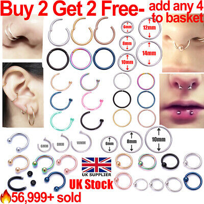 £1.49 • Buy Nose Ring Nose Lip Hoop Cartilage Tragus Helix Ear Piercing Surgical Steel Rings