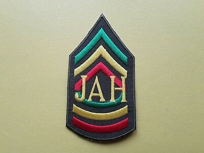 JAH Sgt Rasta Stripes Novelty Patch:- Sew Or Iron On Badge  • 3.19£