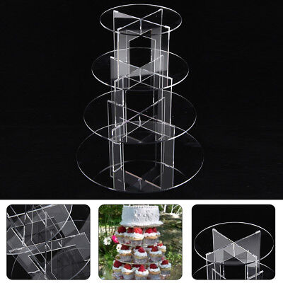 £15.59 • Buy 4 Tier Level Round Cupcake Stand Dessert Tower Clear Acrylic Display Cake Stand