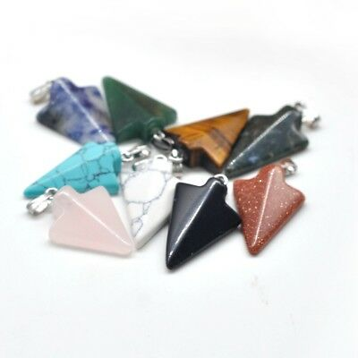 AU4.85 • Buy Natural Agate 18X25MM Arrow Pendant With Silver Findings For Women And Men