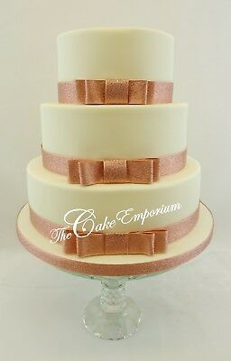 Rose Gold Wedding Cake Bow & Ribbon Sets Cake Topper Options Diamante Mr & Mrs  • 3.99£