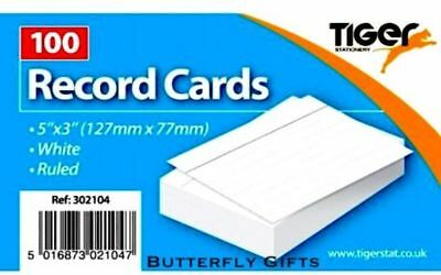 £2.80 • Buy Tiger Revision Flash Index Record Cards Students College Office 5''x 3  Ruled Wh
