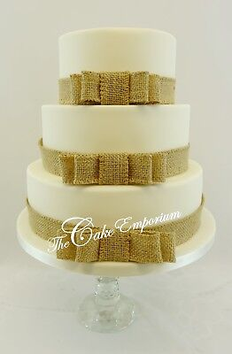 £15.99 • Buy Rustic Wedding Cake Ribbon- Hessian Bow Sets Strung Pearls Wooden  Cake Toppers