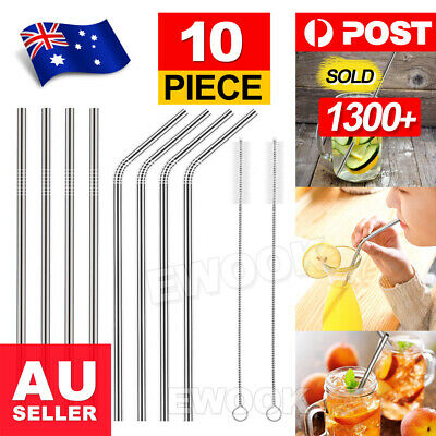 AU10.95 • Buy 10 X Stainless Steel Straws Metal Drinking Straw Bent Long Reusable Washable AU