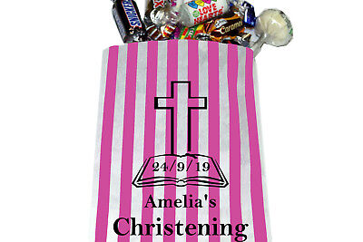 £1.99 • Buy Personalised Christening Sweet Bags, Candy Striped Sweet Bags Christening Party