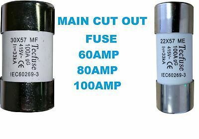 £7.95 • Buy Me Mf House Mains Service Cutout Fuses Small Large 60amp 80amp 100amp Metre Fuse
