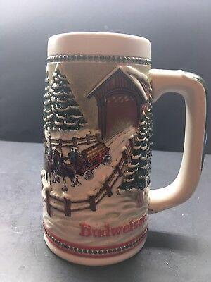 $ CDN16.39 • Buy 1984 Budweiser Christmas Holiday Beer Stein W Clydesdale Horses & Covered Bridge