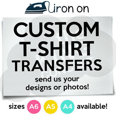 Custom Iron On T-Shirt Transfers A6 A5 A4 Your Image Logo Photos Design Hen Stag • 1.89£