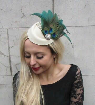Cream Green Peacock Feather Pillbox Hat Hair Clip Fascinator Races Wedding 6851 • 17.95£