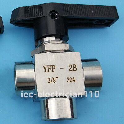 $16.50 • Buy Gas Ball Valve 3/8  3 Way L Port NPT Stainless Steel Oil Water