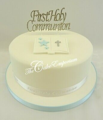 First Holy Communion Silver Chalice, Bible, Cake Toppers Silver Ribbon Sets  • 16.99£