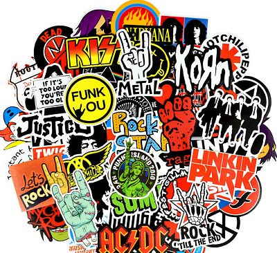£8 • Buy 100 Rock Stickers Metal Punk Bands Guitar Amp Music Decals Stickerbomb