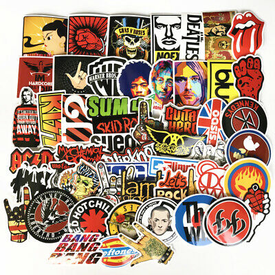 £6 • Buy 52 Rock Stickers Metal Punk Bands Guitar Amp Music Decals Stickerbomb