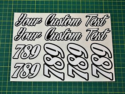 Custom Text Stickers In Special Chrome Finish - Race Numbers Crash Helmet Etc 5 • 9.99£