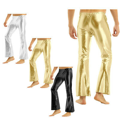 £6.29 • Buy Mens Shiny Metallic Long Pants Club Party Stage Bell Bottom Flared Trousers 70's