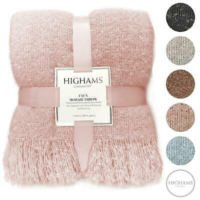 £15.99 • Buy Highams Large Faux Mohair Throw Over Blanket Bed Luxury Bedspread Blush Grey NEW
