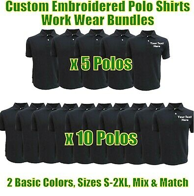 £39.99 • Buy Personalised Embroidered Work Wear Polo Shirts Package Builders Garages Uniforms